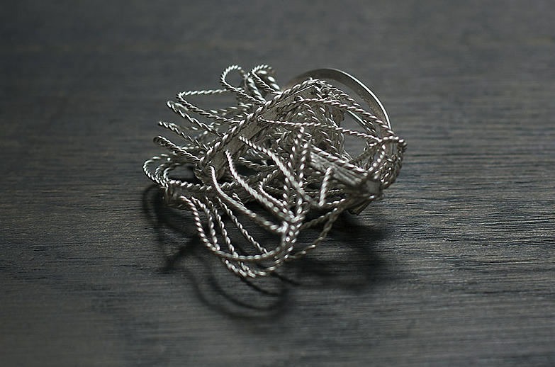 Folding Brooch 2012, partially oxidised silver.