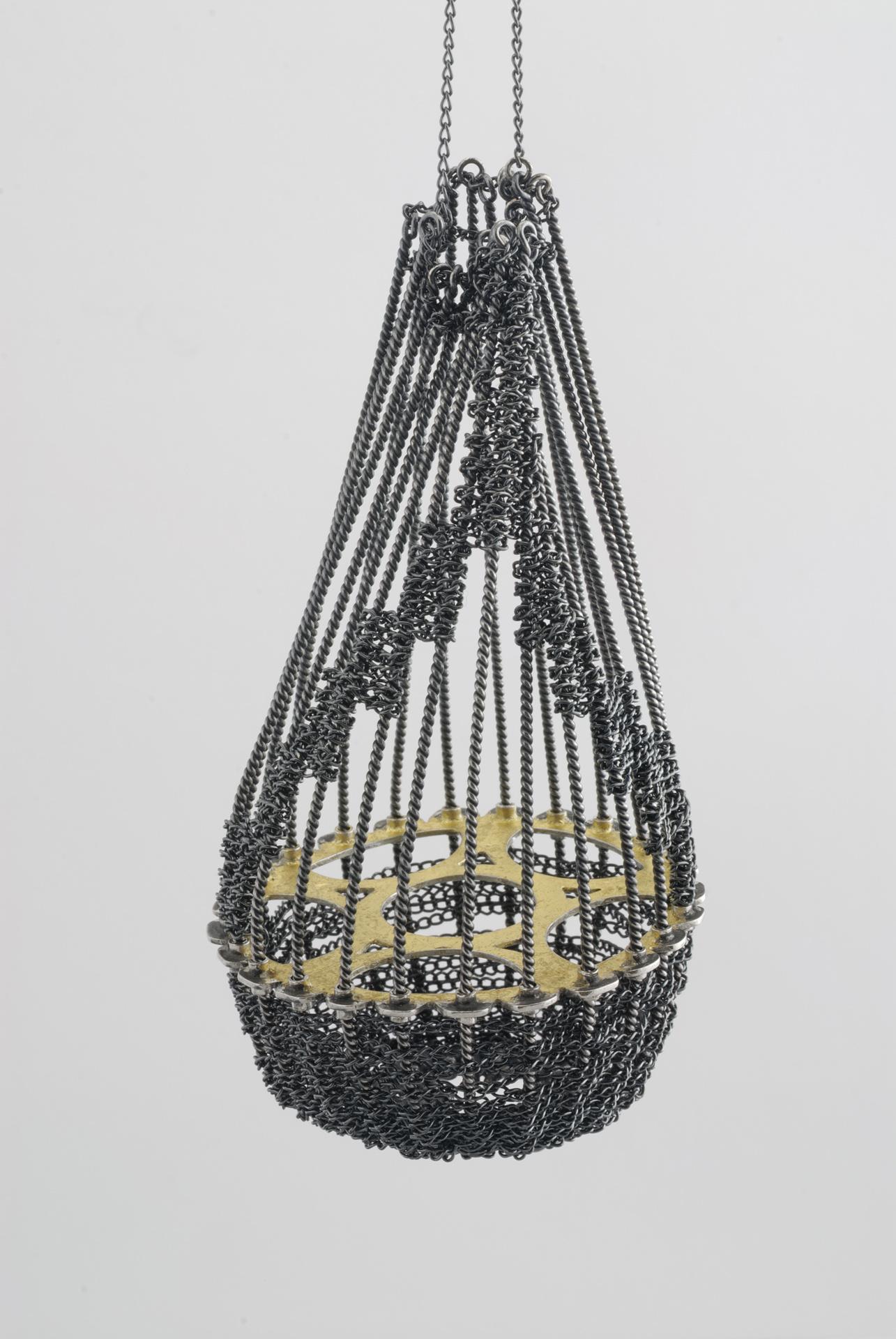 'Time Traveller' Necklace, oxidized stg silver, 24ct gold leaf, 85mm x 45mm