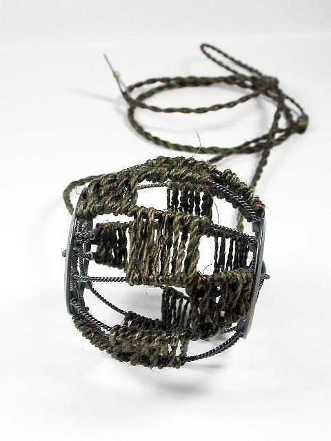 'Wheel Amulet' Necklace, Dyed muka, oxidised silver