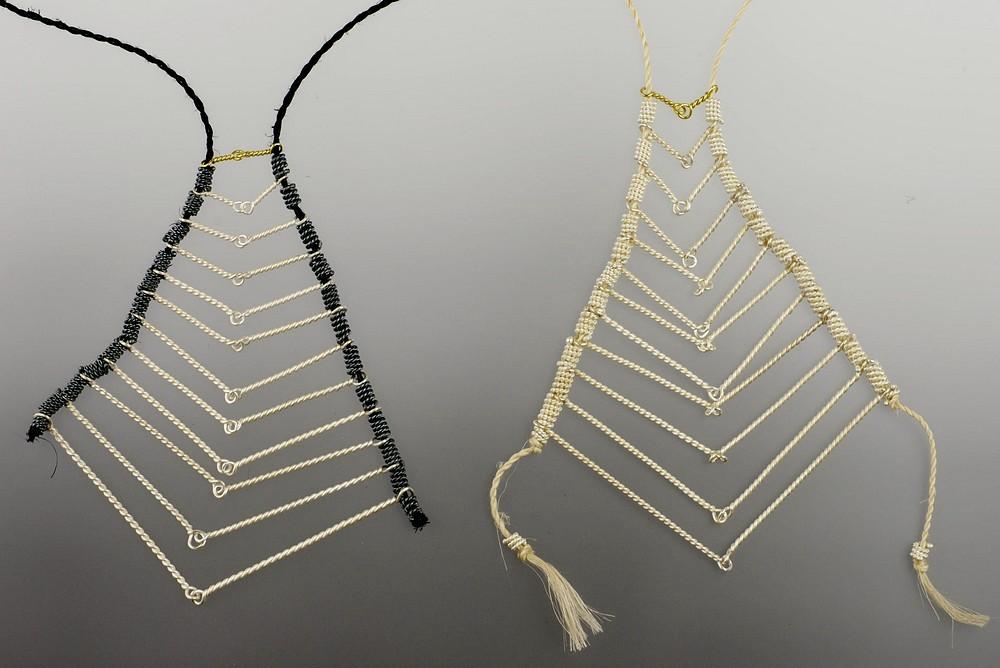 Twelve, set of neckpieces, sterling silver, 18ct gold, muka