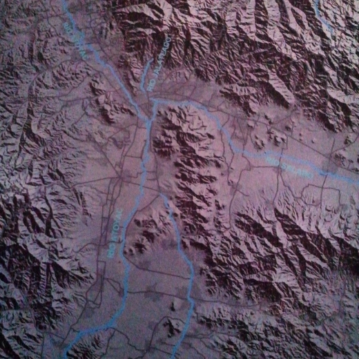 Topographical Map showing valley of Oaxaca