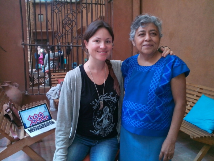 Maestra Eufrocina and I in Arquetopia's courtyard, Oaxaca