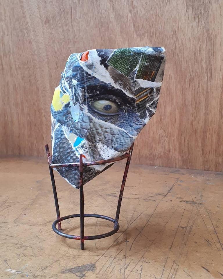 Mia Straka- Rocks (2 of 3) - poster paper, reused cardboard, copper stand