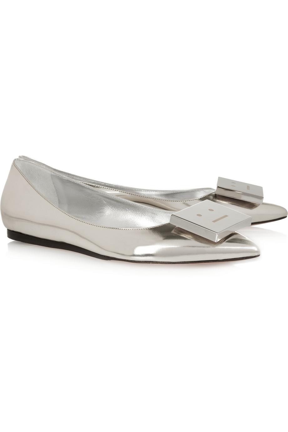 Acne Studios metallic leather point-toe flats
