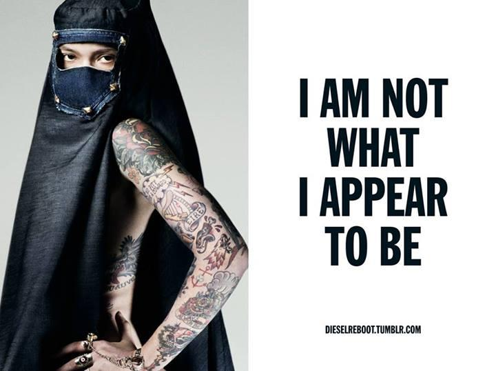 *Ira Chernova in the burka diesel ad