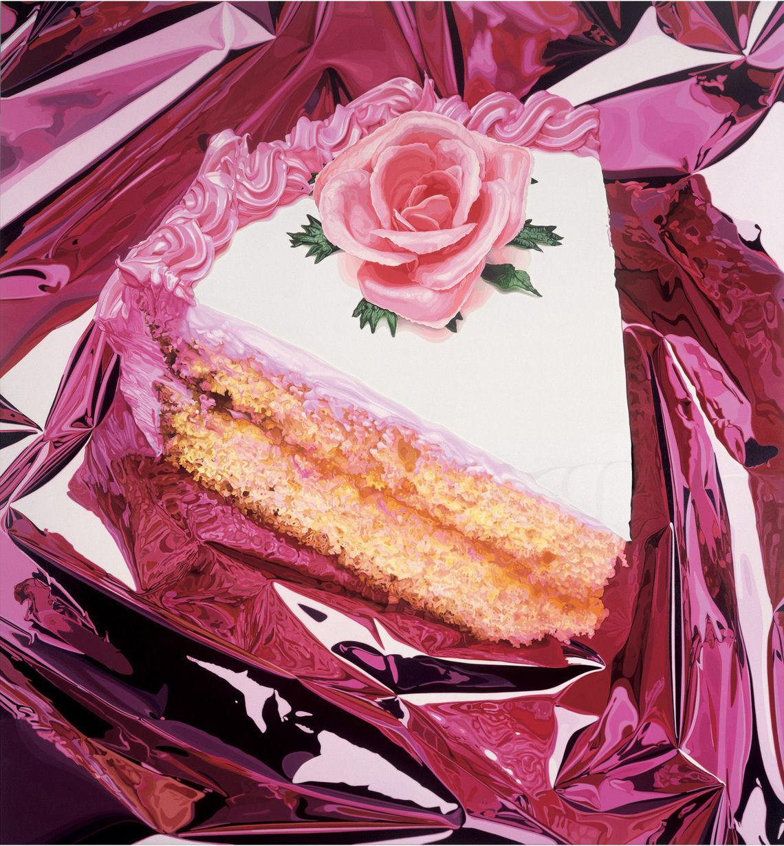 Jeff Koons,  Cake , 1995–97.  Oil on canvas; 125 3⁄8 x 116 3⁄8 in. (318.5 × 295.6 cm). Private collection. © Jeff Koons