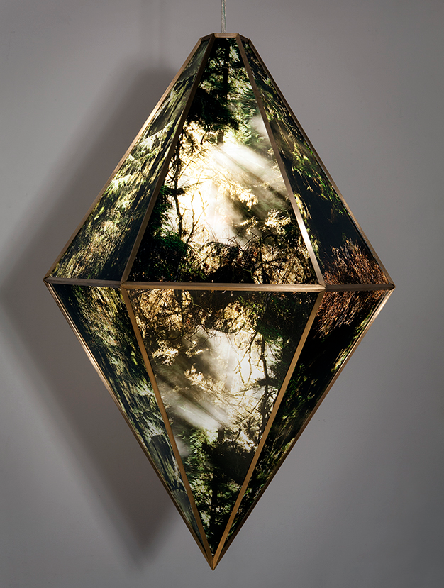 Arboreal Prism   2013   Duratrans, plexiglass, brass, LED, electronic components   24 x 24 x 32""