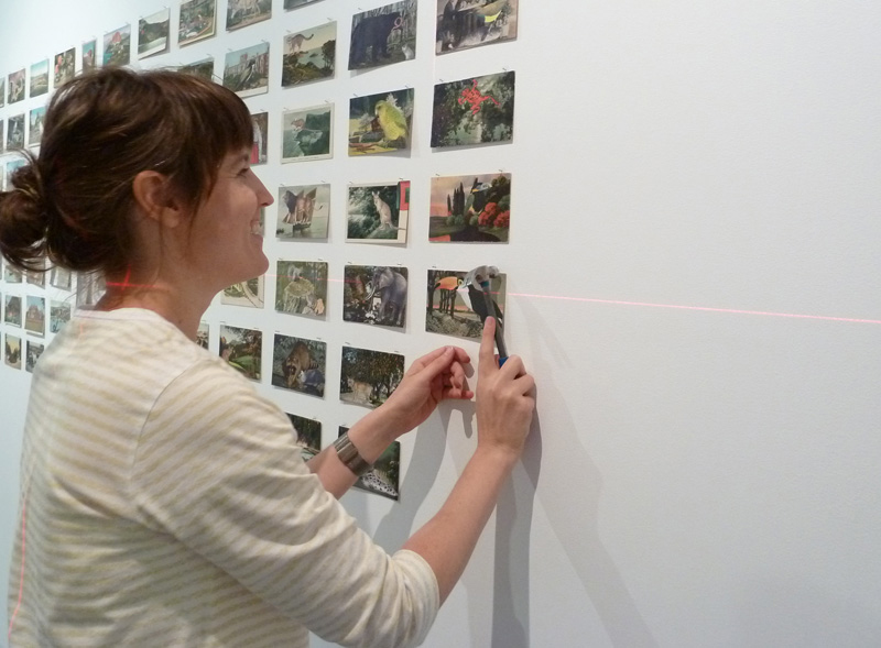 Louise installing  By This Unwinking Night , 2012
