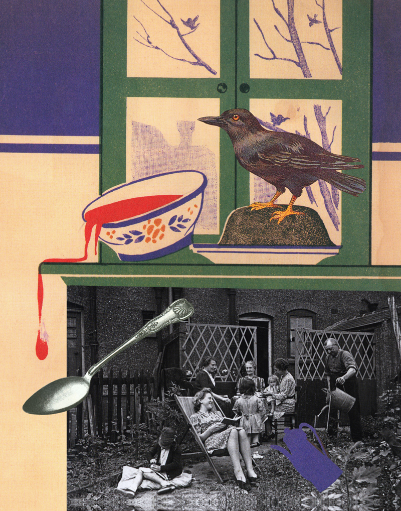 Gracia Haby & Louise Jennison,  And the crow fared well , 2012, collage for The Big Issue