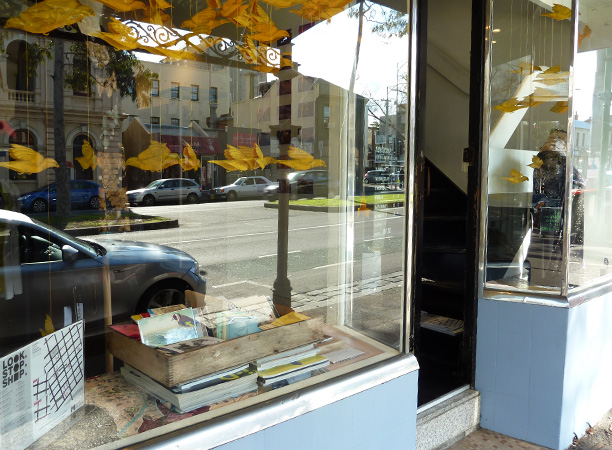 Gracia Haby & Louise Jennison, A  Charm of Finches Good as Gold  in the window of Milly Sleeping's Carlton store
