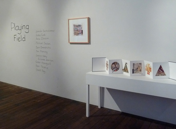Gracia Haby & Louise Jennison,  From this bed, with the wings of a bird, I flew to the sea as I slept last night , 2010, lithographic offset print, and  Sleeping during the day , 2010, artists' book, exhibited as part of  Playing Field , Craft Victoria