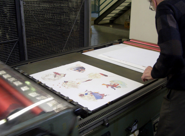 Bernie Rackham of Redwood Prints at work on his lithographic offset press, 2009
