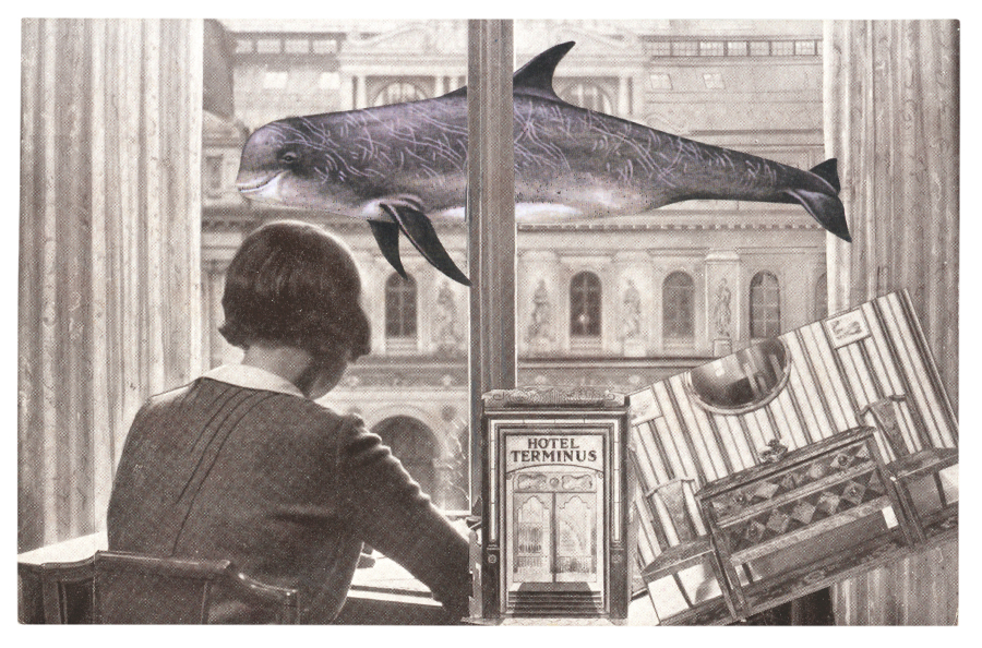 Gracia Haby,  Quietly waiting , 2012, postcard collage