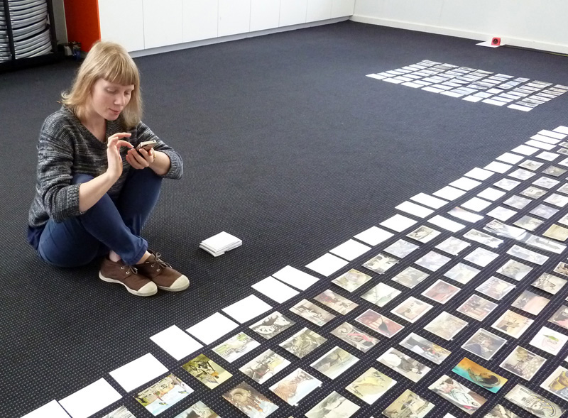Mapping out space for 464 postcard collages to be exhibited as part of   All breathing in heaven   in August