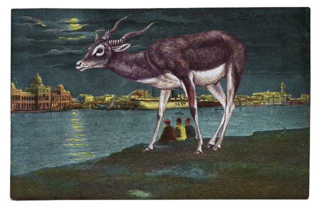 Gracia Haby,  Talking by moonlight bright , 2011, postcard collage