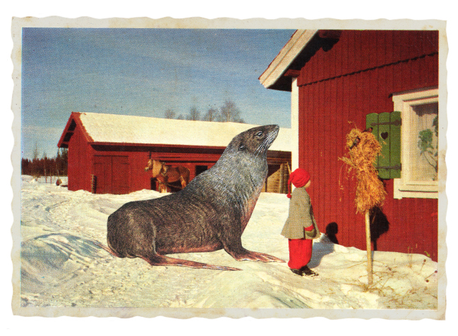 Gracia Haby,  Keeping the very best company , 2012, postcard collage
