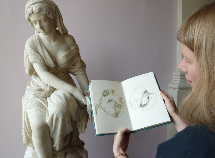 With a copy of Louise Jennison's   A Flight of Twelve Southern Hemisphere Birds   in hand, at Geelong Gallery, 2013