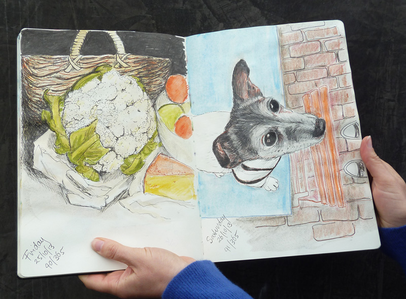 Elaine Haby's Saturday portraits of Percy in her Moleskine