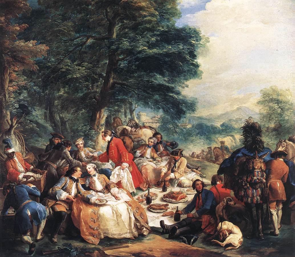 Carle Van Loo,  Halt in the Hunt , 1737, oil on canvas