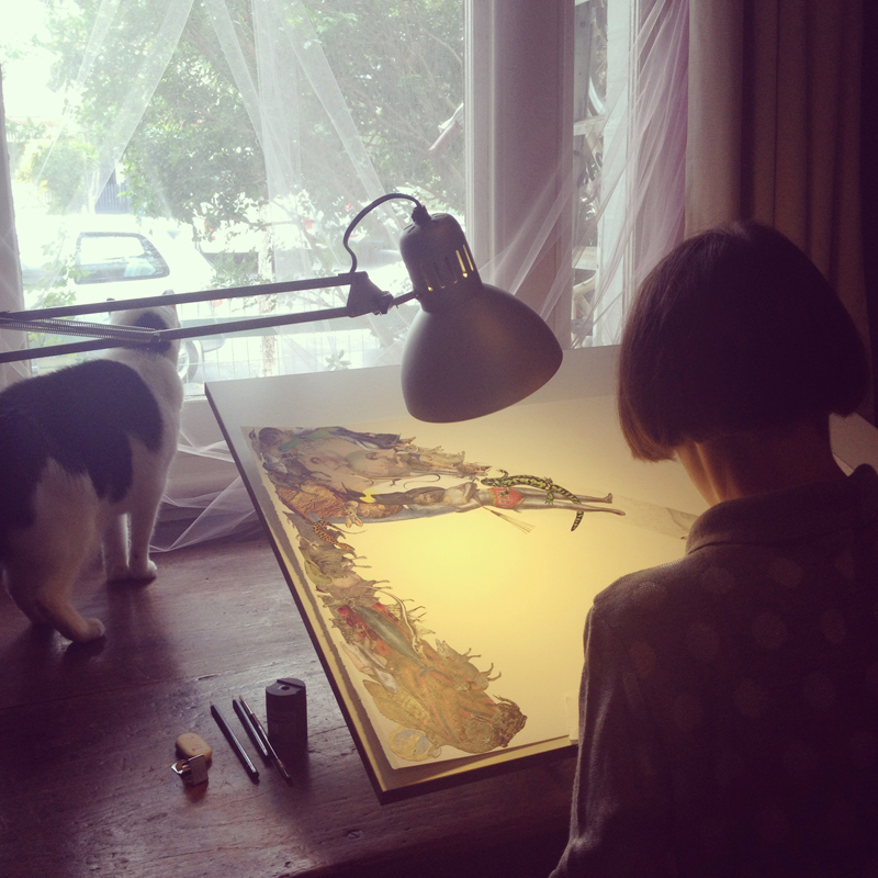 Louise, at the drawing board