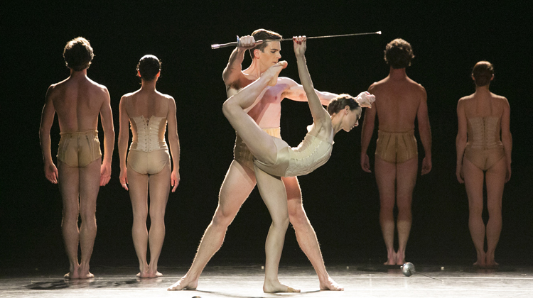 Andrew Wright & Dimity Azoury with Artists of The Australian Ballet in Jiří Kylián's  Petite Mort  (Image credit: Jess Bialek)