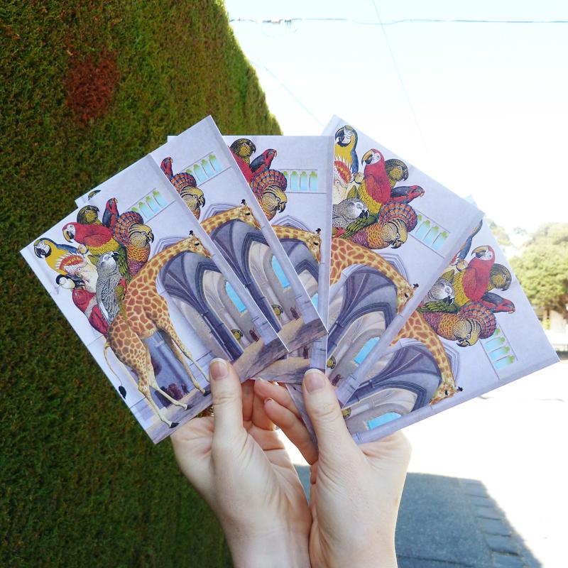 In hand,   And Zarafa Kept Walking  , a new greeting card design