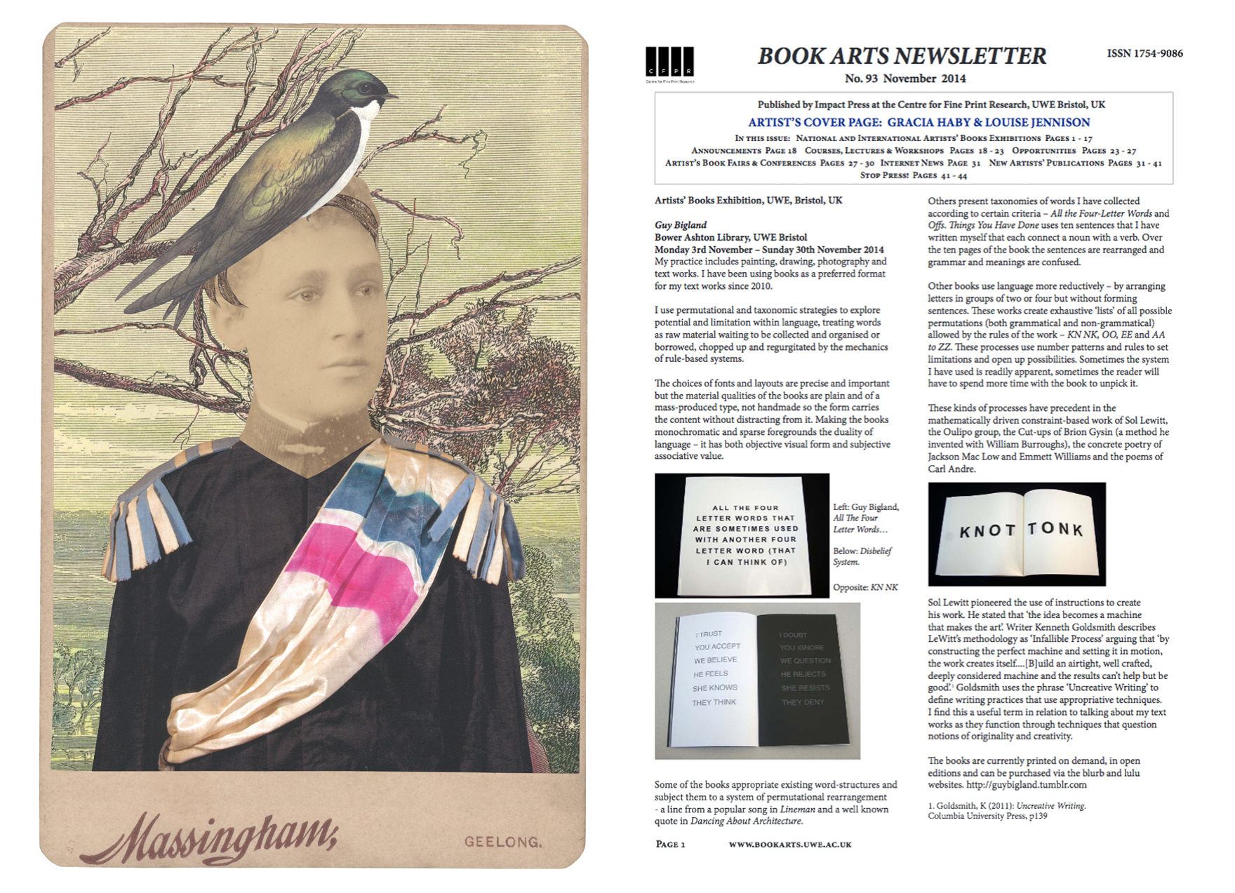 Gracia Haby & Louise Jennison,  In the borrowed costume of a Military Musician from Jardin Public, designed by Jean Lurçat, c. 1935 , 2014, collage for Book Arts Newsletter