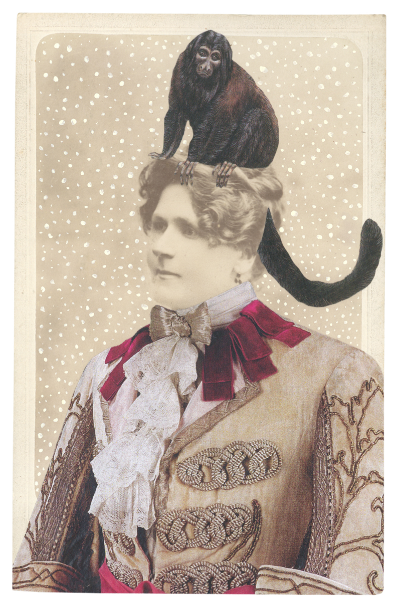 Gracia Haby,  In the borrowed costume of Prince Charming from The Sleeping Princess, circa 1921, with a Black-bearded saki (Chiropotes satanas) , 2014, collage on cabinet card