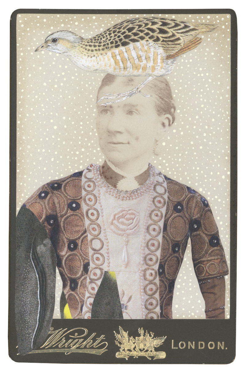 Gracia Haby,  In the borrowed costume of a Prince for Vaslav Nijinsky, 1914 , 2015, collage on cabinet card
