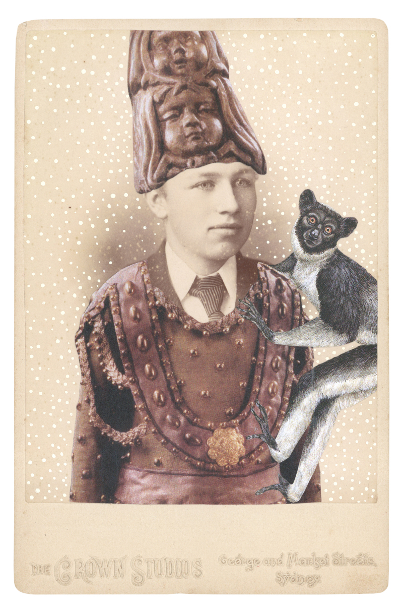 Gracia Haby,  In the modified costume for a Little God from Le Dieu bleu with a brass headdress, 1912, with an Indri (Indri indri),  2014, collage on cabinet card