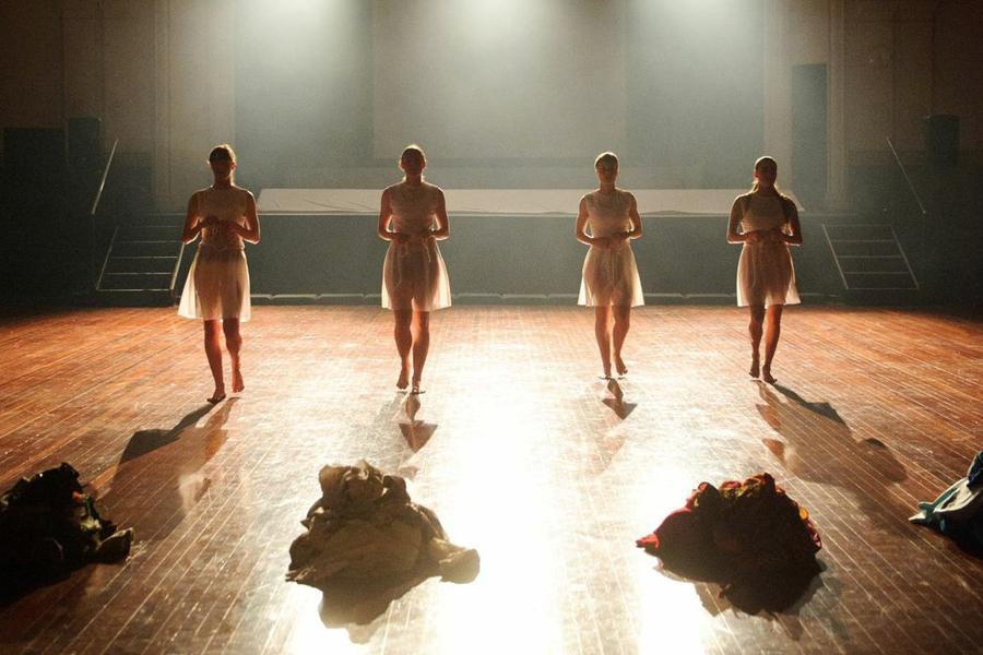 Sarah Aiken (Air) and Rebecca Jensen (Water), Janine Proost (Earth), and Rachel Coulson (Fire) in  Overworld , Dance Massive 2015 (Image credit: Sarah Walker)