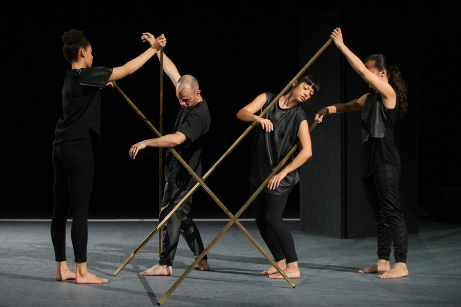 Antony Hamilton, Melanie Lane, Ashley McLellan and Sophia Ndaba in  Merge , presented as part of Dance Massive 2015 at Arts House (Image credit: Sarah Walker)