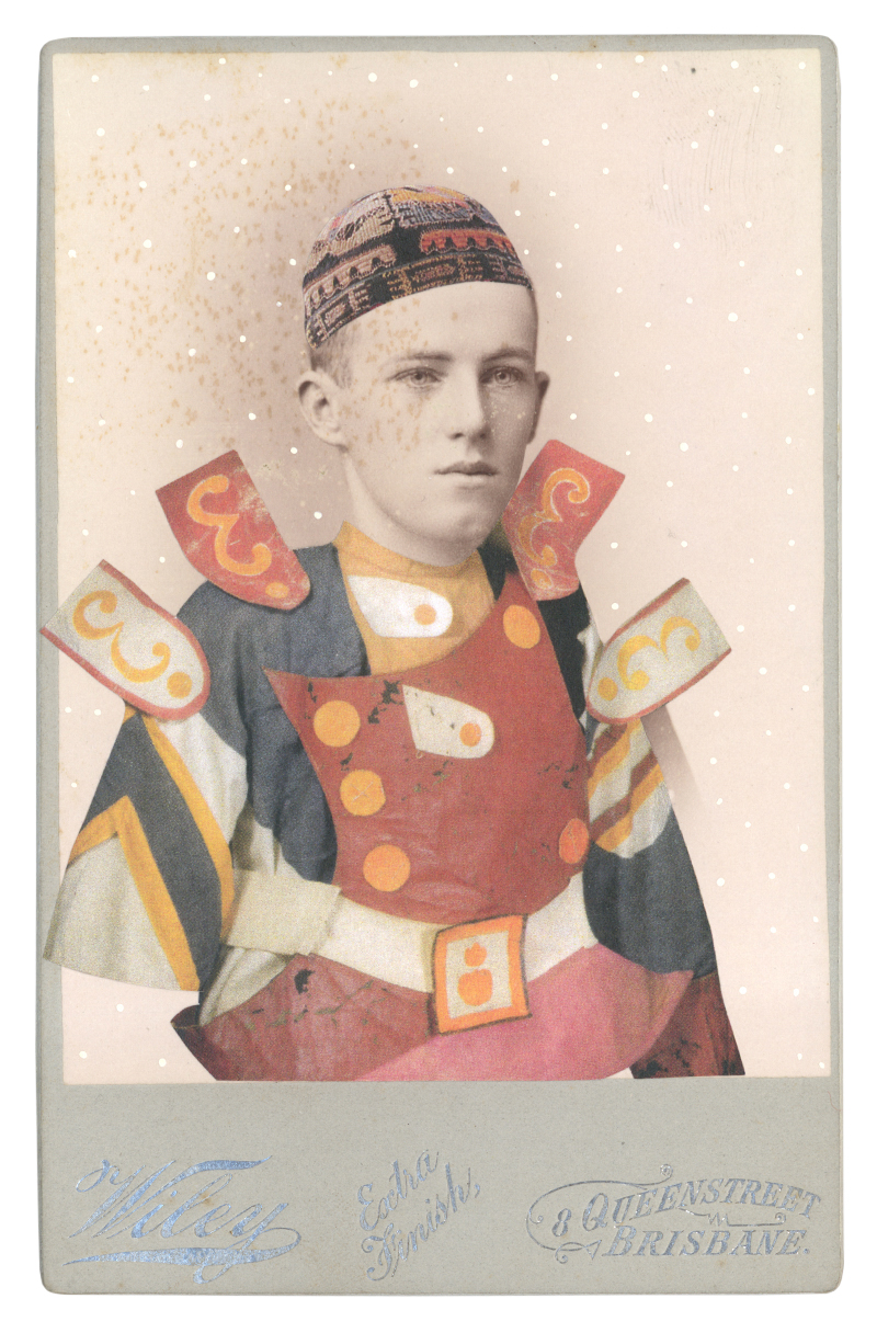 In borrowed costume for a soldier from Chout, c. 1921, designed by Mikhail Larinov
