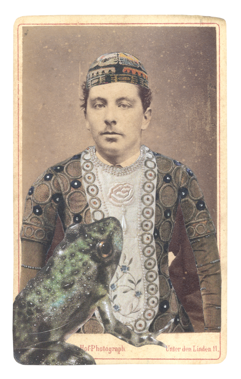 Gracia Haby,  In the borrowed costume for Vaslav Nijinsky as the Prince from the pas de deux L'Oiseau et la Prince, after Léon Bakst, 1914, with a Northern cricket frog (Acris crepitans) , 2015, collage on carte de visite