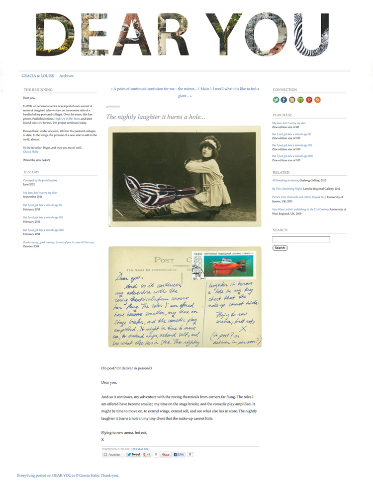 Dear You , an online archive of postcard collages sent since 2008