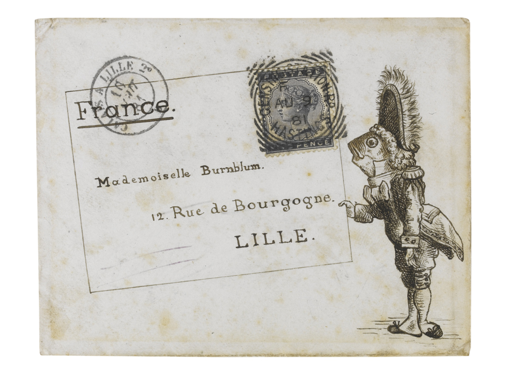A pen-and-ink sketch of a fish footman presenting an envelope with the address and postage stamp, on an envelope from Hastings to France 9 August 1881, franked with the 5d. indigo, S.G.K6, tied by the Censing Station Road, Hastings code 'F' squared-circle date stamp, Calais à Ville transit 10 August opposite, Lille date stamp of arrival on the reverse the same day, addressed to Mademoiselle Burnblum in Lille