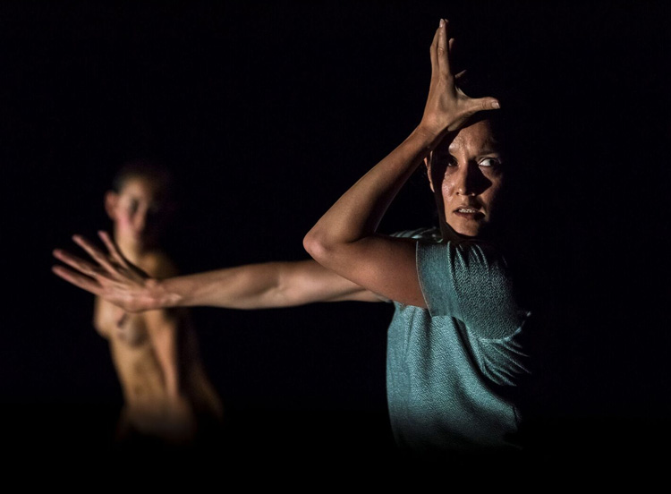 Melanie Lane and Lilian Steiner in Lucy Guerin's  Split  (image credit: Gregory Lorenzutti)