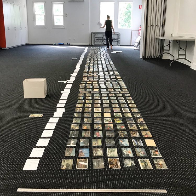 Mapped out on the floor,  seventy columns of postcard collages , in preparation for a forthcoming exhibition of our work at Maitland Regional Gallery in the new year
