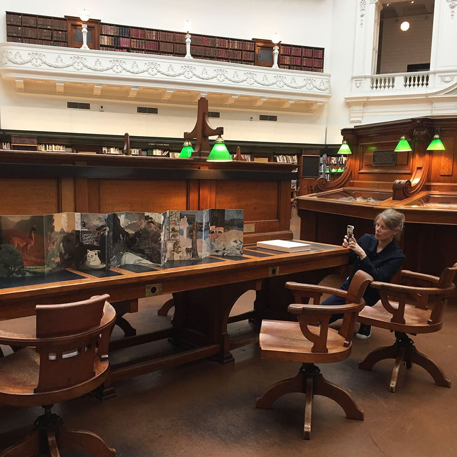 Our artists' book,   Paw Pad Path  , momentarily unfurled in State Library Victoria's Latrobe Reading Room