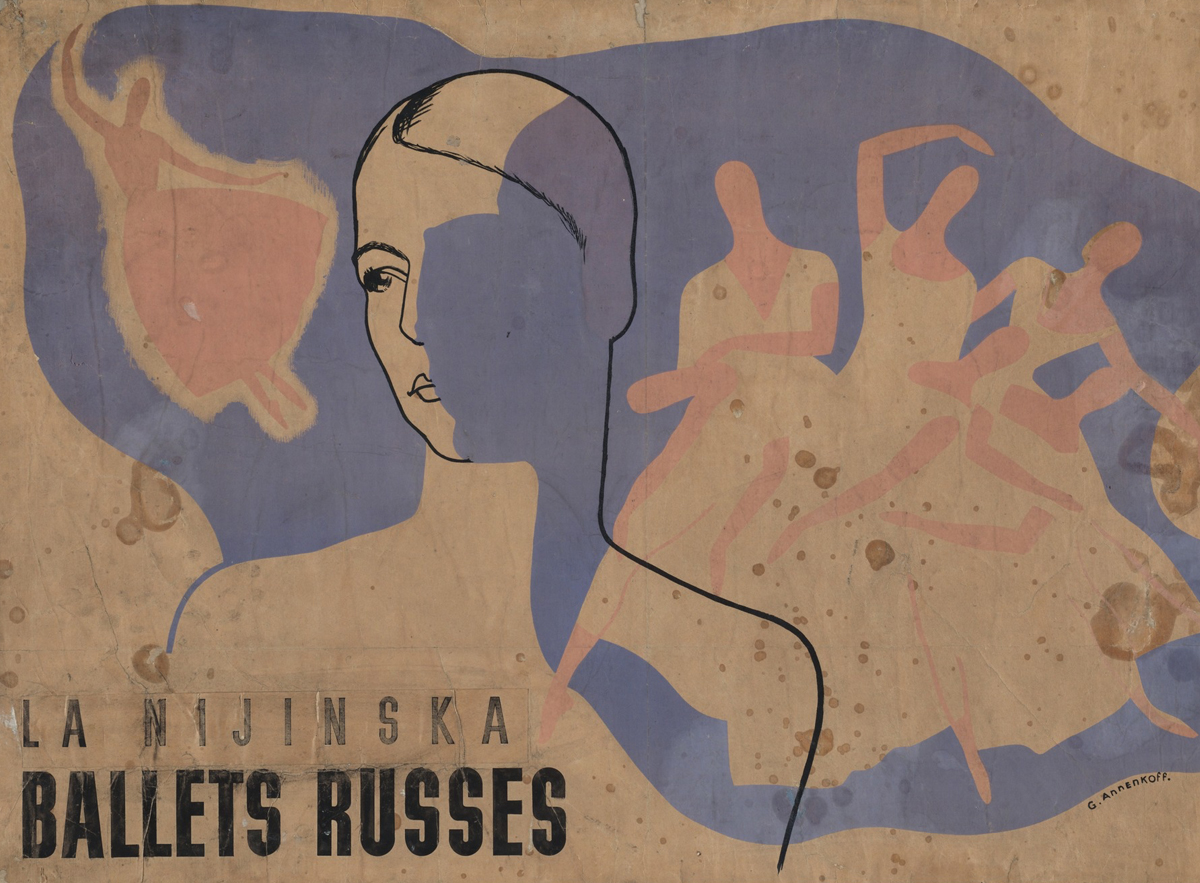 Iurii Annenkov,  La Nijinska, Ballet Russes  (Poster for  Les Biches  and  Le Train Bleu  created by Bronislava Nijinska for the Ballet Russes), 1924, lithograph with hand additions