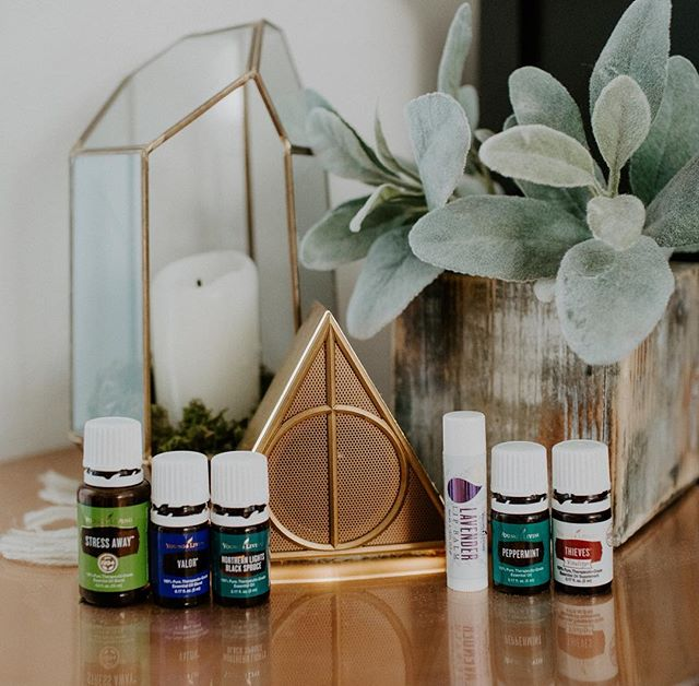 """Essential Oils & Harry Potter 🌱⚡️ """"These are a few of my faaaa-vorite thiiings!"""" 🤩 They have nothing to do with each other but my deathly hallows speaker was just begging to be photographed with my oils 🤣 • Anyways...these are some of my favorite oils that I use allll da time. 😏 I have a detailed explanations of how I use them & why they're my favorite in my story so I won't bore you again here! • I'm curious though about two things:  1. What's your favorite Harry Potter movie (mine is probably died between Sorcerer's Stone & Deathly Hallows Part 2)⚡️ 2. What's your favorite essential oil?🌱 • If you made it this far...I'm going to pick someone who comments their favorites to send a sample of any oil I have to 😉🙌🏻 • #dphotopro #harrypotter #essentialoils #yleo #youngliving #essential #essentiallyblessed #deathlyhallows #horcrux #stressaway #northernlightsblackspruce #thieves #lavender #eos #oola #oilylife #essentialadventures #oilgiveaway #harrypotterfans #pbteen #essentialoulsample #valor #peppermint #thisoilylife #myoilylife #essentiallblessed #essentialadventures"""
