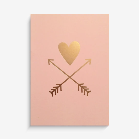 LUCY DARLING'S METALLIC GOLD HEART AND ARROW PRINT