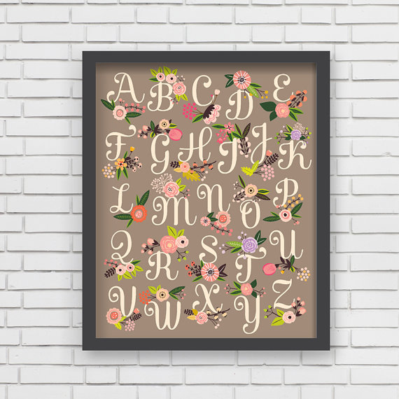 LUCY DARLING'S WARM GREY FLORAL ALPHABET PRINT