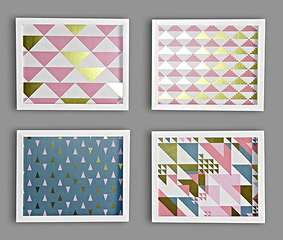 LUCY DARLING'S METALLIC GOLD TRIANGLE NURSERY PRINTS
