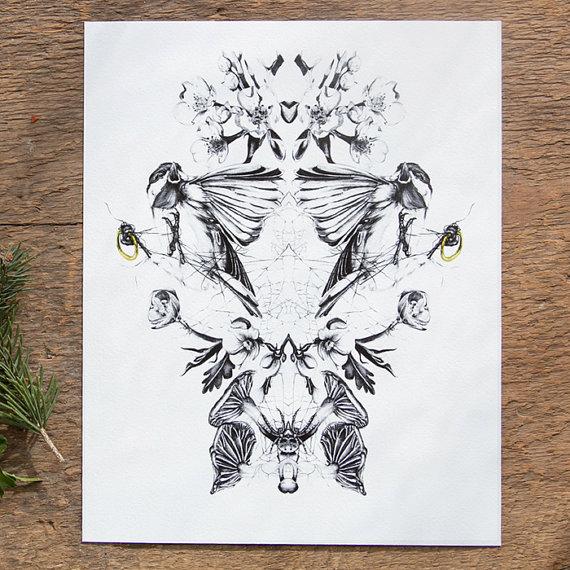 bird chickadee print