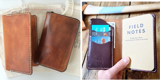 LEFT: Notebook Cover before + after use photo. RIGHT: Fontenelle Supply Co.'s Notebook Cover Wallet (Not available in-store. Please contact us/Fontenellefor ordering info.)