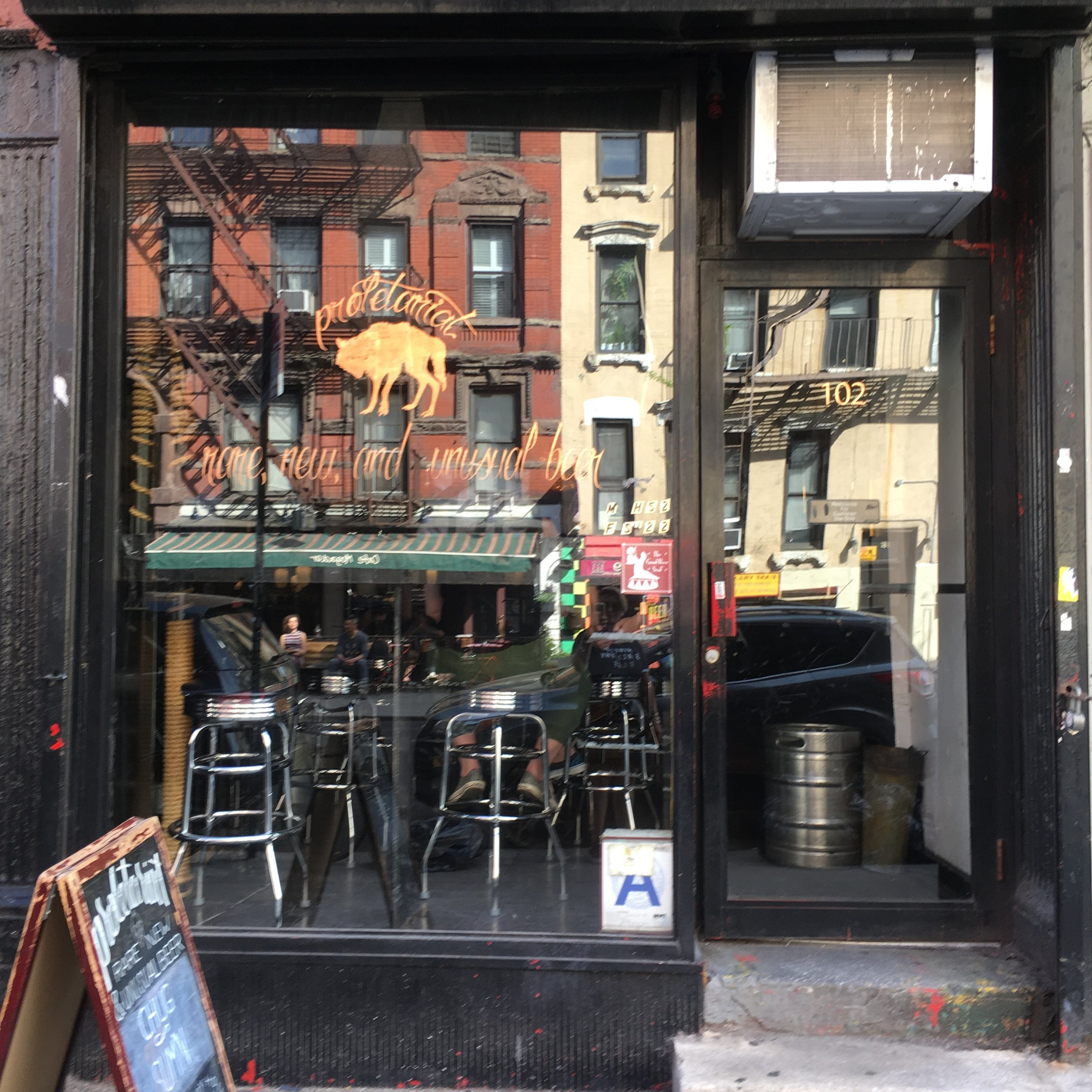 PROLETARIAT - If your feet have had enough, take a few more steps into this awesome little East Village joint. They carry a cool selection of beers you probably haven't tried, yet, in a friendly, no frills space. The front window-side space offers people watching at its best.