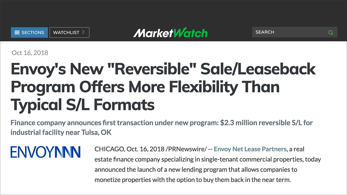 News of Envoy's new S/L program as it appeared on the   MarketWatch site  .