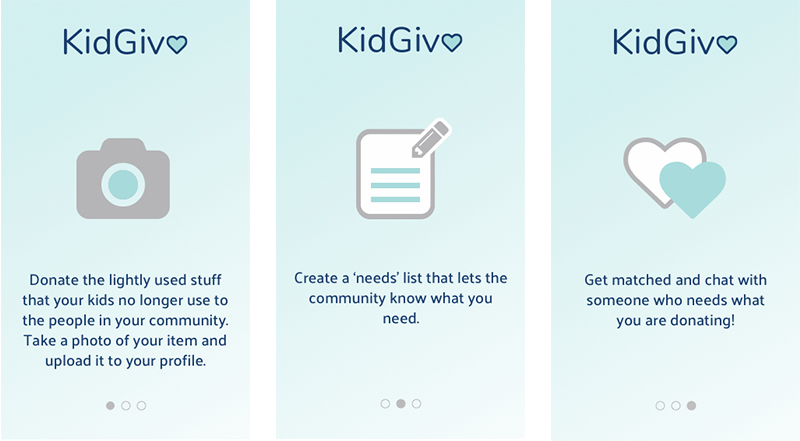 Onboarding - These onboarding screens are a chance to introduce the user to the main features, brand, and tone of KidGiv