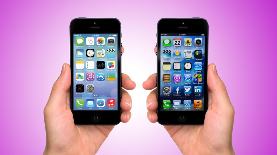 iOS 6 on the right, iOS 7 on the left.